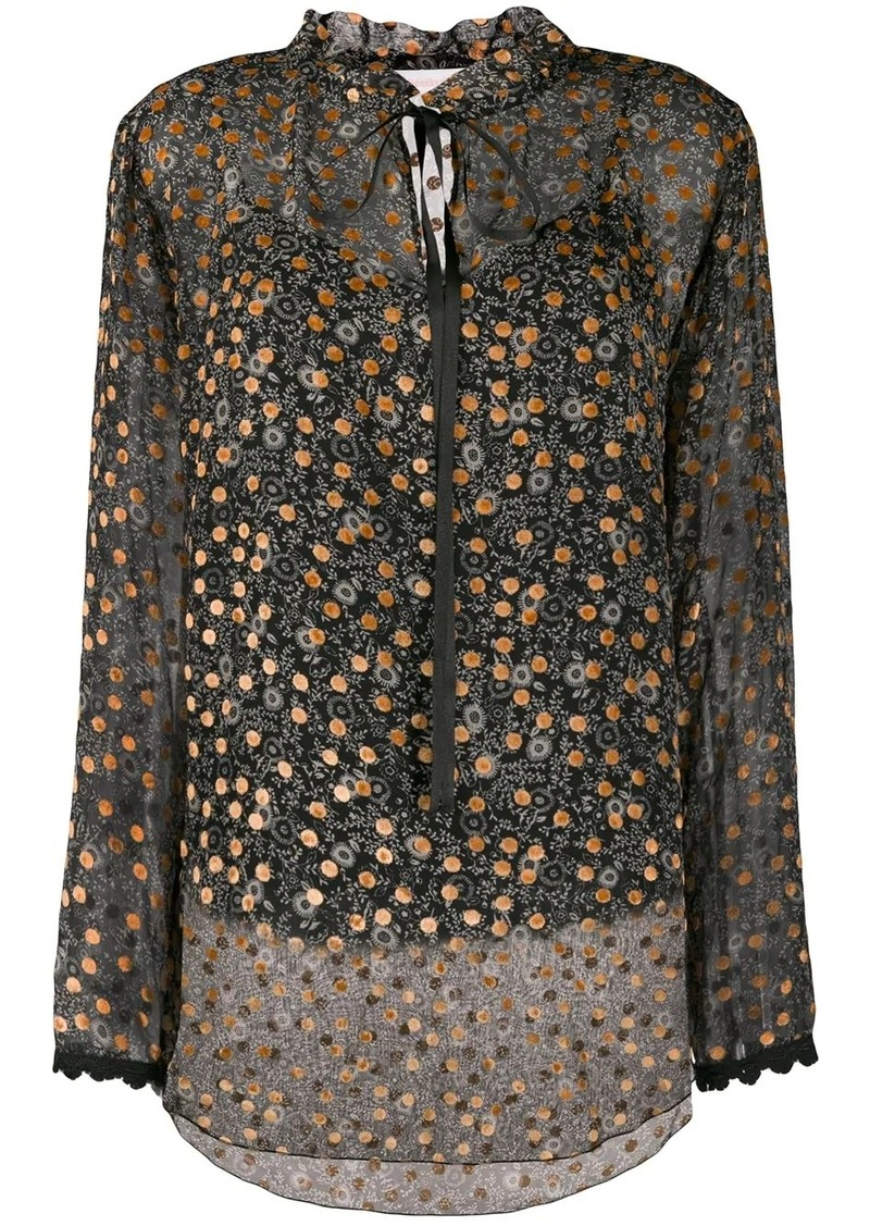 See by Chloé embroidered sheer blouse