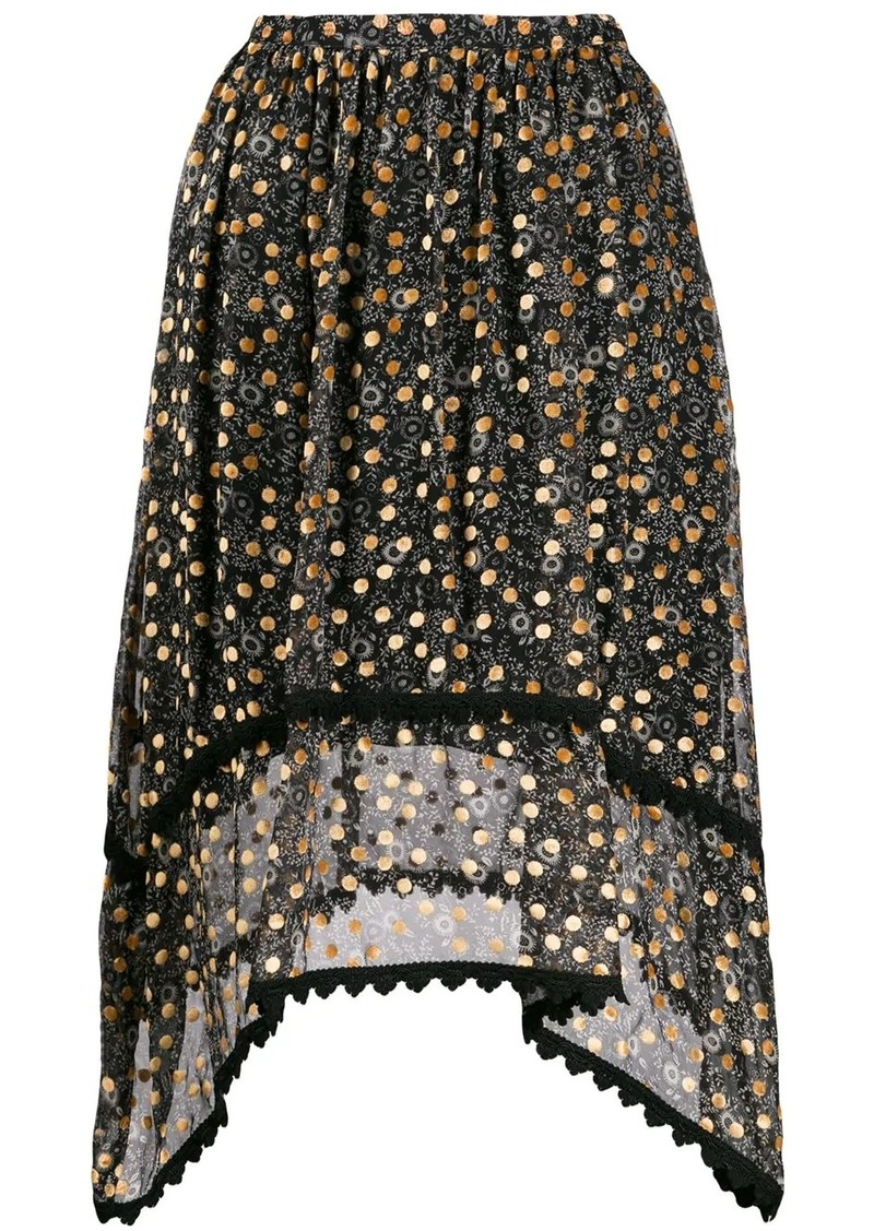 See by Chloé velvet-flocked floral-print skirt