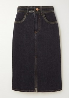 See by Chloé Vinyl-trimmed Denim Skirt