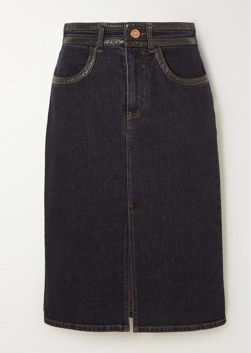 See by Chloé Vinyl-trimmed Denim Skirt