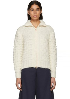 See by Chloé White & Beige Textured Knit Jacket