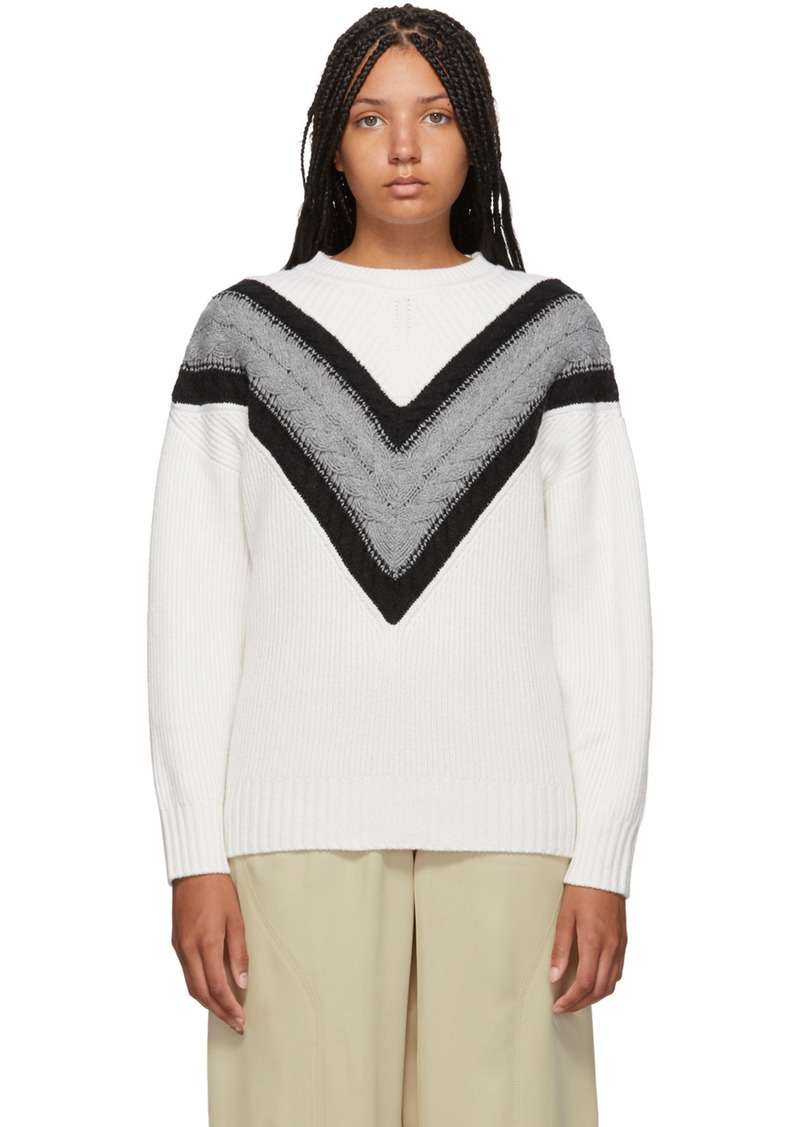 See by Chloé White & Grey Wool Cable Knit Sweater