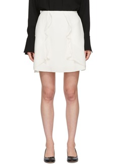 See by Chloé White Crepe Ruffle Miniskirt