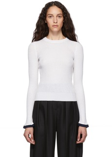 See by Chloé White Open Knit Crewneck Sweater