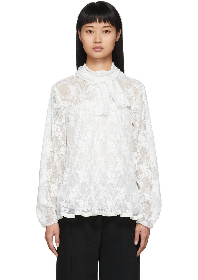 See by Chloé White Pleated Lace Blouse