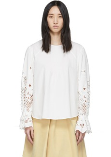 See by Chloé White Poplin Floral Embroidery Blouse