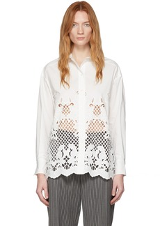 See by Chloé White Poplin Floral Embroidery Shirt