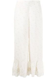See by Chloé wide leg embroidered trousers