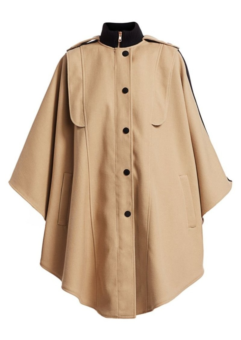 See by Chloé Wool-Blend Cape Trench Coat