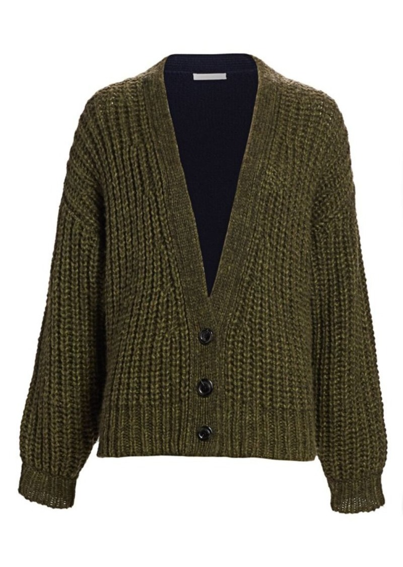 See by Chloé Wool Blend Two-Tone Cardigan