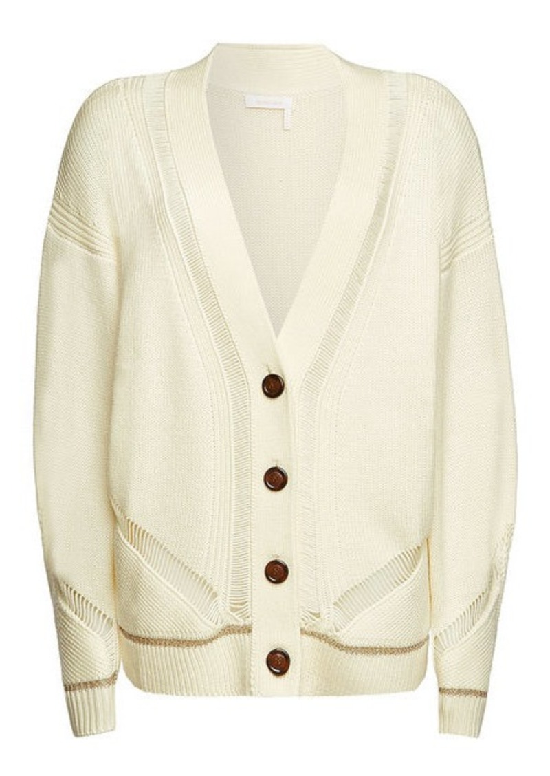 See by Chloé Wool Cardigan with Metallic Trim