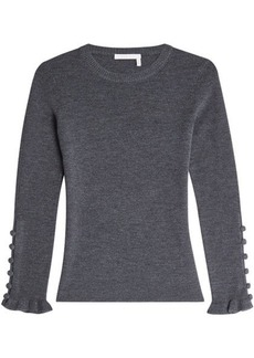 See by Chloé Wool Pullover with Buttoned Cuffs
