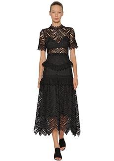 Self Portrait Abstract Triangle Lace Midi Dress