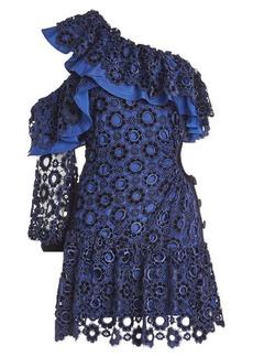 Self Portrait Asymmetric Floral Lace Mini Dress