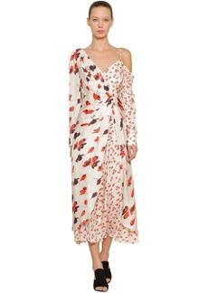 Self Portrait Asymmetric Floral Print Viscose Dress