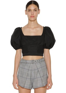 Self Portrait Balloon Sleeves Ottoman Cropped Top