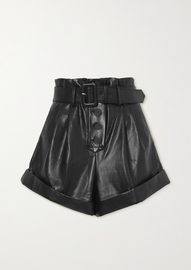 Self Portrait Belted Faux Leather Shorts