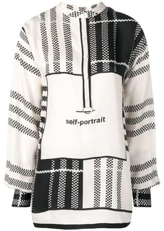 Self Portrait checked print blouse