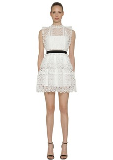 Self Portrait Circle Floral Lace Tiered Mini Dress