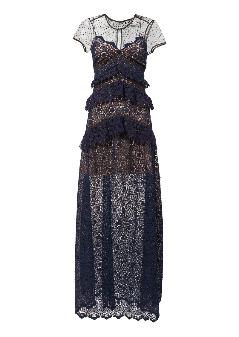 Self Portrait Circular Lace-Panelled Maxi Dress
