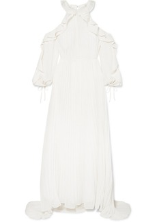 Self Portrait Cold-shoulder Ruffled Pleated Chiffon Gown