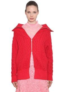 Self Portrait Cotton Blend Cable Knit Cardigan