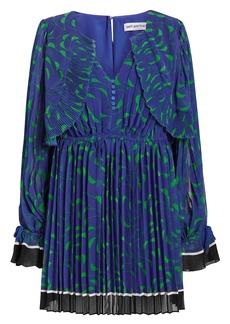 Self Portrait Crescent Chiffon Pleated Cape Dress