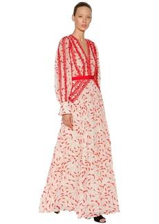 Self Portrait Crescent Printed Chiffon Dress
