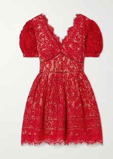 Self Portrait Crochet-trimmed Cotton-blend Corded Lace Mini Dress