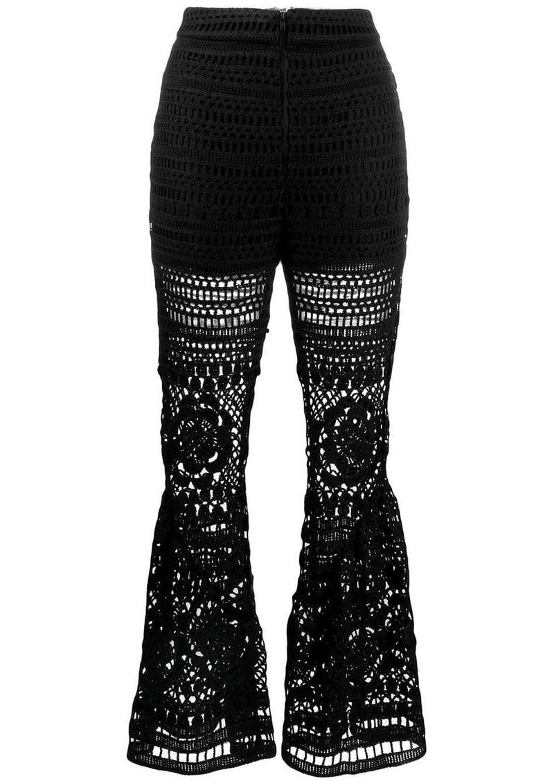 Self Portrait crochet trousers