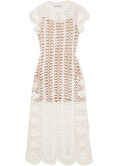 Self Portrait Crocheted Cotton Midi Dress