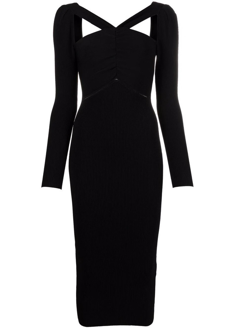 cut-out detail midi fitted dress