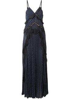 Self Portrait Cutout lace-trimmed pleated fil coupé chiffon maxi dress