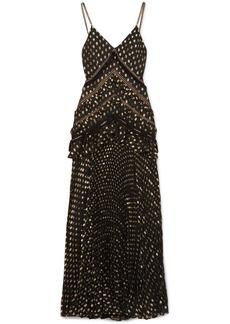 Self Portrait Cutout lace-trimmed pleated metallic fil coupé chiffon maxi dress