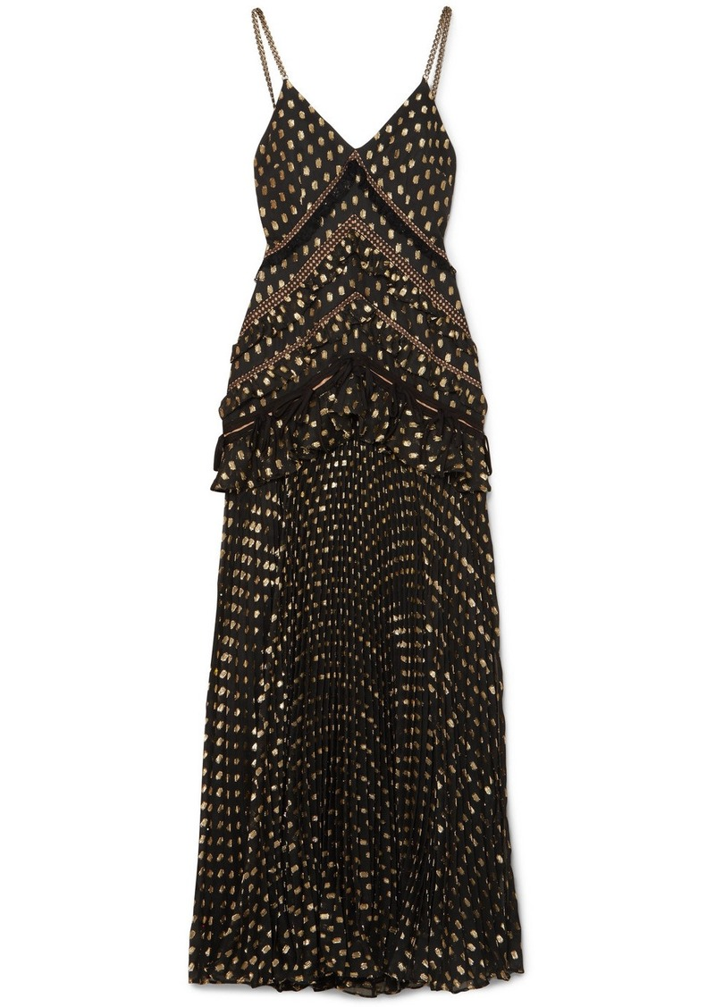 Self Portrait Cutout lace-trimmed pleated metallic fil coupé chiffon maxi dress