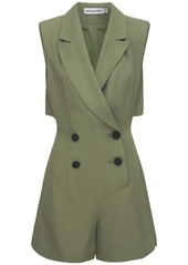 Self Portrait Double Breasted Twill Tuxedo Playsuit