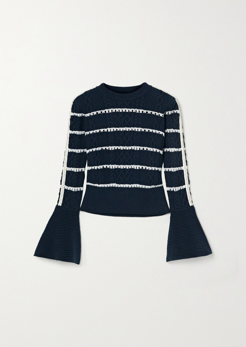 Self Portrait Embellished Striped Cable-knit Cotton-blend Sweater