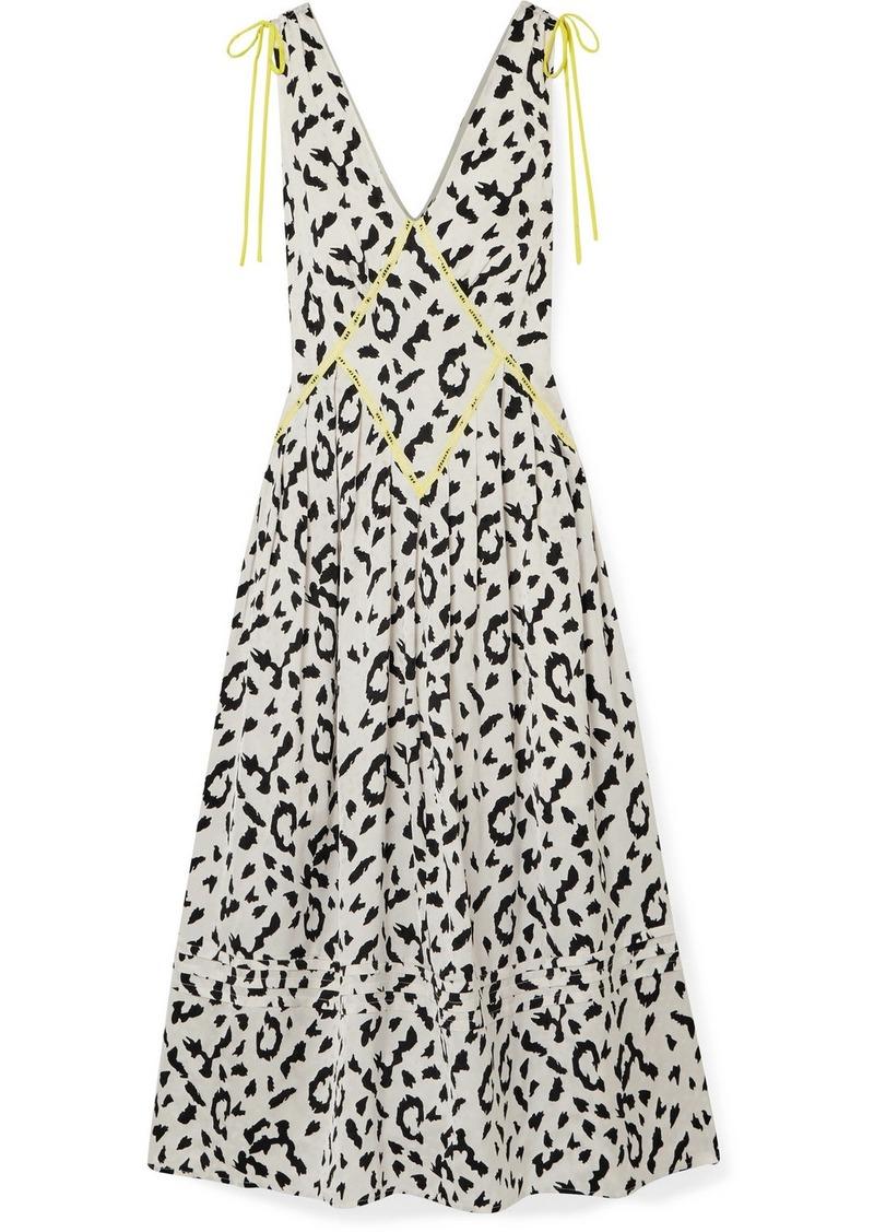 Self Portrait Embroidered Leopard-print Satin-jacquard Midi Dress