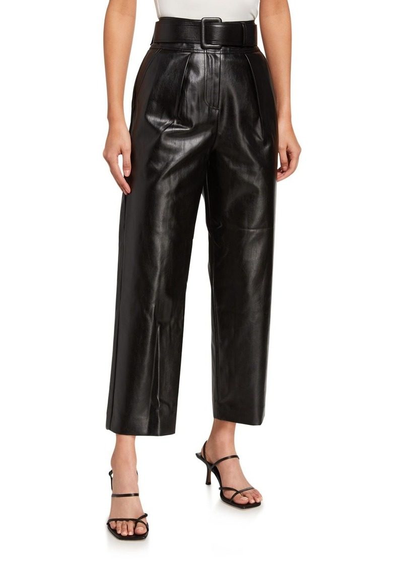Self Portrait Faux-Leather Belted High-Rise Trousers
