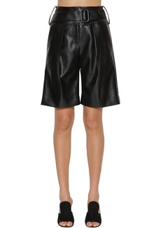 Self Portrait Faux Leather Midi Shorts
