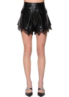 Self Portrait Faux Leather Shorts W/ Lace Trim