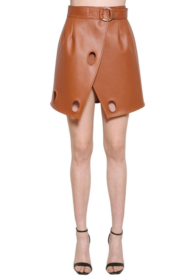 Self Portrait Faux Leather Wrap Skirt