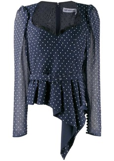 Self Portrait flare polka-dot blouse