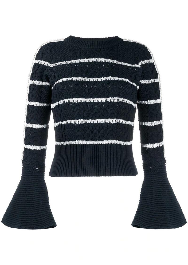 Self Portrait flared cuff striped pattern jumper