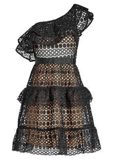Self Portrait Floral Chain Lace Asymmetric Mini Dress