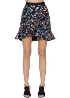 Self Portrait Floral Embellished Mini Skirt W/ Ruffles