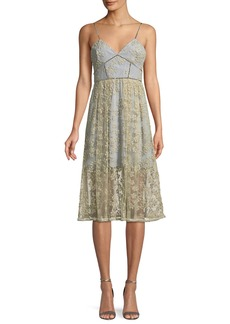 Self Portrait Floral Embroidered Mesh Midi Cocktail Dress