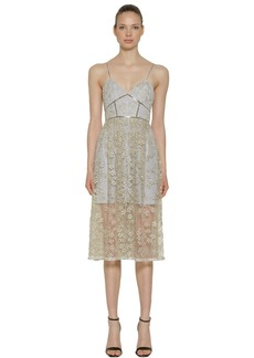 Self Portrait Floral Embroidered Tulle Midi Dress