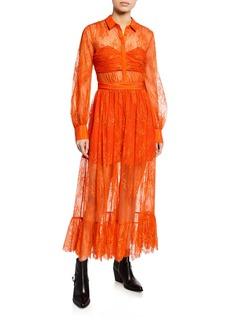 Self Portrait Floral Fine Lace Midi Dress