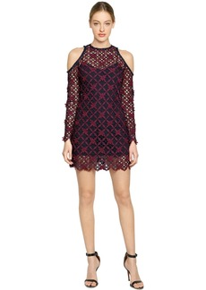 Self Portrait Floral Grid Lace Cold Shoulder Dress